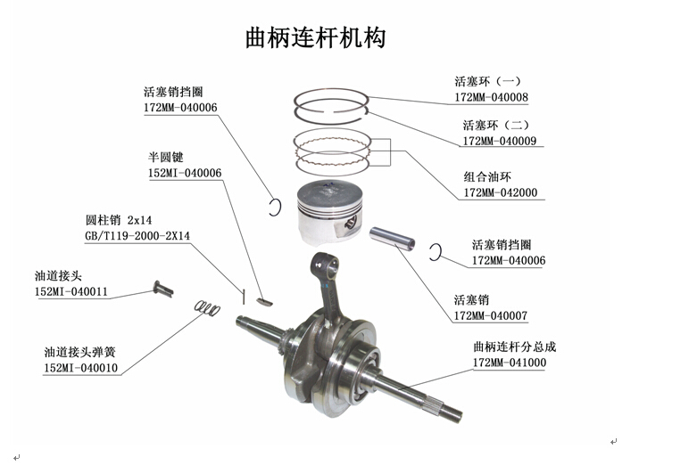 crankshaft  piston for YH260CC ATV YH002 YH006 BEYOND ATV260 ATV260 parts number is 172MM-041000