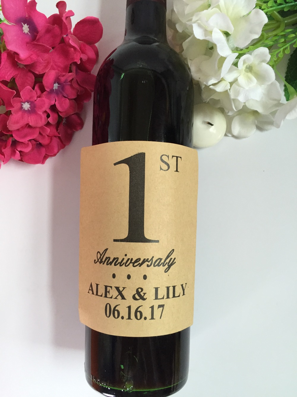 1st 25th 40th 50th Anniversary Engagement Wedding Party Table Number Wine Labels Stickers In