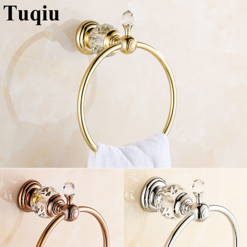 Towel Rings Luxury Crystal Brass Gold Towel Ring Towel Holder Bath Towel Bar Bathroom Accessories Home Decoration Useful