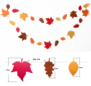 Image 5 - 4Meter Red Orange Yellow Autumn theme Leaves Garlands Dots Paper Banner Flags For Thanksgiving Wedding Party Decoration