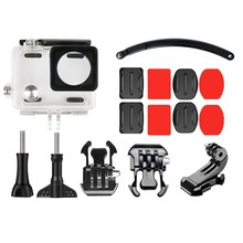 15 In 1 Helmet Adjustable Flat Multifunction Mount Kit And Waterproof Case(45M) For Gopro Hero 4 Outdoor Cycle Surfing Gliding(China)