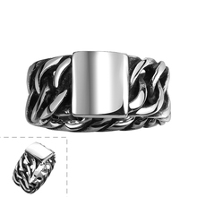 GOMAYA 2018 Hot Sale Fashion Personality Mens Titanium Stainless Steel Wide Ring Punk Biker Jewelry  Chain Rings