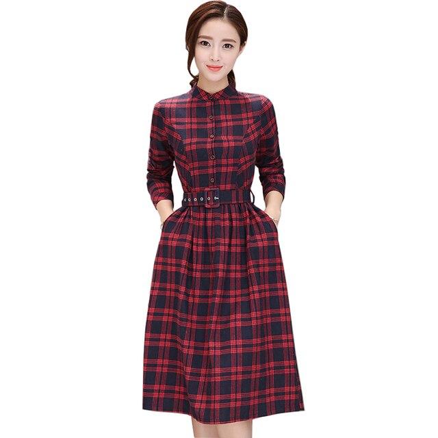 3f1e87f37c Fall Stand Collar Kilt Vestidos 2018 New Autumn Women Long Sleeve Green/Red  Plaid Shirt