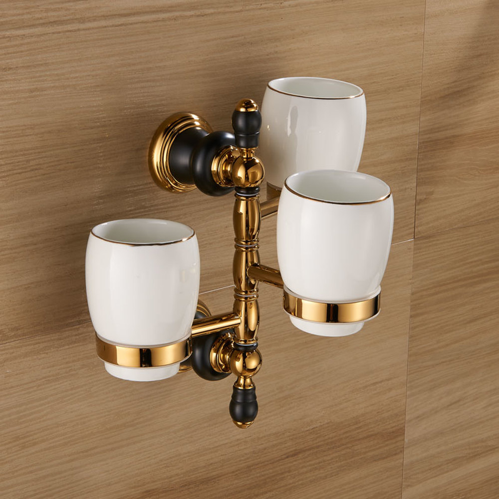 A1 European copper black gold bathroom wash cup toothbrush cup holder hardware pendant cup holder LO71853 полотенце irya delicia с гипюром 85x150 см 2515 char001