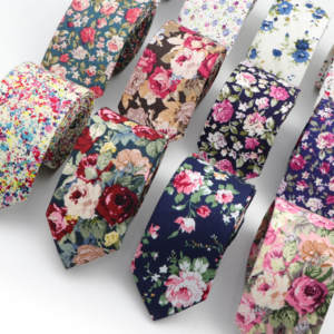 Necktie Flower-Tie Paisley Skinny Slim Cotton Cravate Colourful Men's Narrow Thick Floral