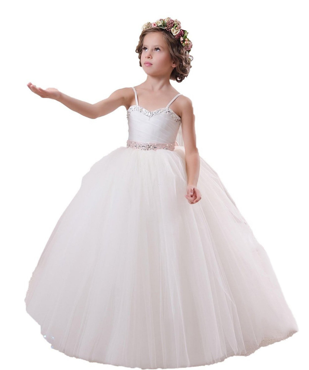 Exquisite Crystal Pink Lace Belt Flower Girl Dresses  Custom Size To Quickly Send White Pageant Dress Flower Girl Dress White