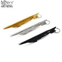 MNFT-herramienta para atar nudos de uñas, limpiador de ojo de anzuelo, gancho, anzuelo, aparejos de pesca con mosca, con Retractor, mosquetón Zinger