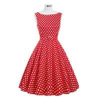 Belle Poque Summer Dresses 2017 Women Polka Dots Knee Length Vintage Sleeveless Robe A Line Casual Beach Work Dress Sundress