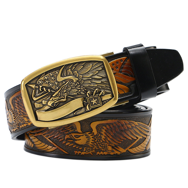 High-end Leather Men Belt Middle-aged Young Business Cowhide Eagle Automatic Buckle Belt Leisure Fashion Punk Luxury Cinto