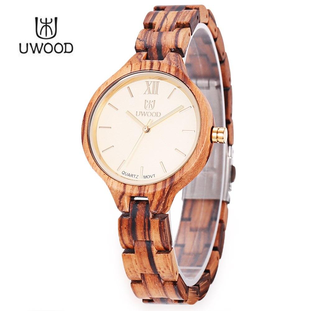 ФОТО UWOOD Women Wooden Quartz Watch Daily Water Resistance Nail Shape Scale Wristwatch