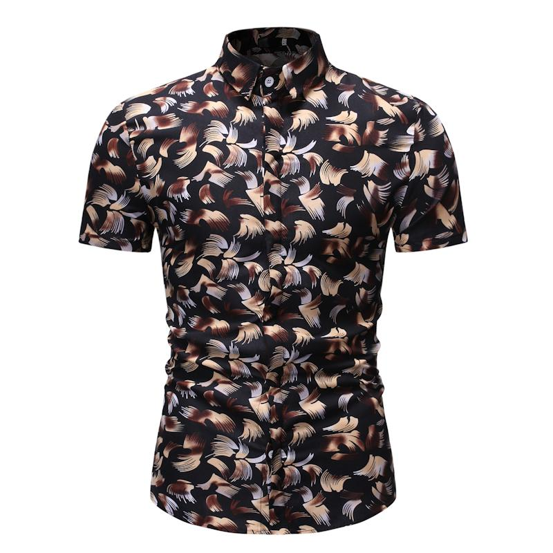 Mens Dress Shirts Summer Hawaiian Casual Shirt for Man Fashion Print Short sleeve Beach Blouse Men Black Red Navy in Casual Shirts from Men 39 s Clothing