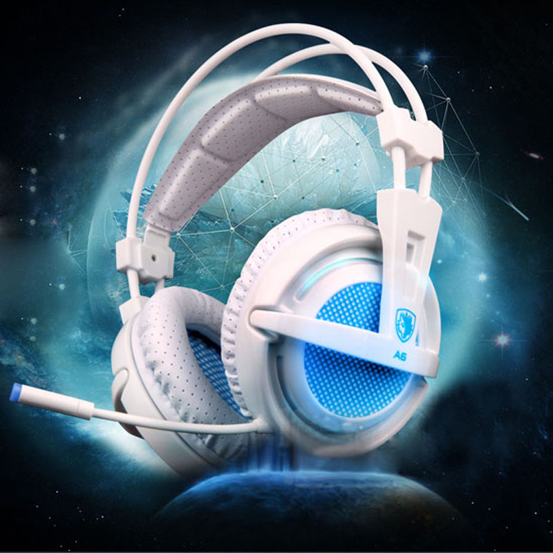 SADES A6 USB 7.1 Surround sound Stereo Gaming headset Headband over-ear Headphone with Mic Volume Control LED light for PC Gamer sades r1 usb 7 1 surround stereo sound vibration gaming headphone with microphone led light pc gamer gaming headset for computer