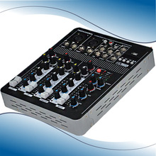 Audio Mixer Console with USB 4 Channel Mixer Sound Console DJ Equipment 48V Phantom Power Supply 4F with Bluetooth