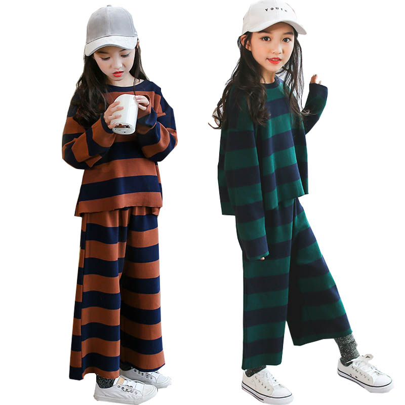 Girls clothing sets autumn striped Wide leg pants girls sport suit teenage girls clothes children clothing set kids tracksuit striped self tie wide leg pants