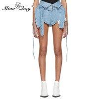 MIAOQING 2018 Modis High Waist shorts jeans for Women Casual Ribbons Bandage Sexy Mini Denim Pants boyfriend jeans streetwear