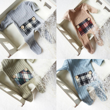 Newborn baby clothes Boy and girl infant Long Sleeve Romper  baby winter jumpsuitLattice Pocket Outfit Newborn Photography Prop