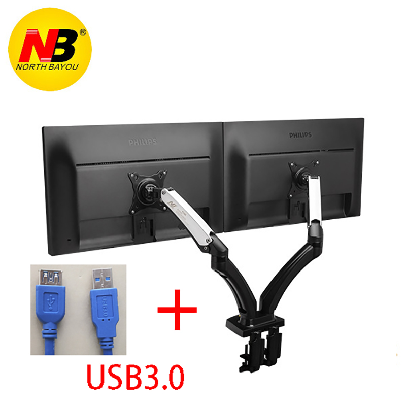 Aluminum Gas Spring Full Motion 17 27 Dual Screen Monitor Holder Desktop Clamping Grommet With Two