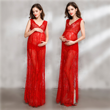 Купить с кэшбэком 2018 Women Pregnancy Maternity Dresses for Photo Shoot Red Soft Lace Long Pregnant Dress Maternity Clothing