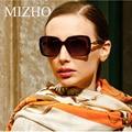 Mizho marca de gama alta square lente polaroid polarizado gafas de sol de gran tamaño mujeres acetato de uva boutique oculos feminino vintage