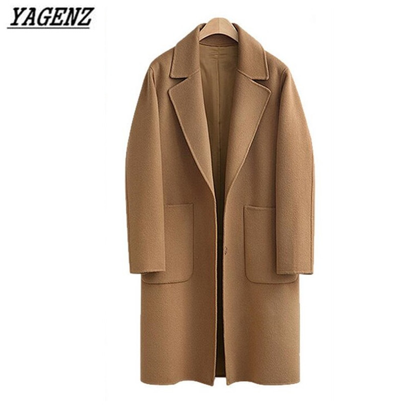 YAGENZ Spring Autumn Wool Coat Jacket 2019 New Fashion Large size Lady Solid Loose Woolen Outerwear