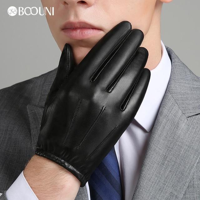 Boouni Пояса из натуральной кожи Для мужчин Прихватки для мангала осень-зима плюс бархат тенденции моды элегантные мужские кожаные перчатки для вождения nm792b