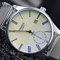 Enmex simple style stainless steel band wristwatch Luminous hands calendar function  brief  casual for young men quartz  watch