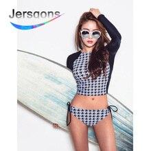 Jersqons Rash Guards Women 2019 Swimming Suit Long Sleeve Female Sunscreen Beach Rashguard Swimwear