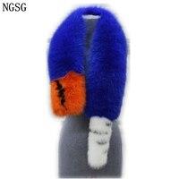 Натуральный мех лисы шарф для Женщины полосой Сращивание Роскошные Настоящий Лисий хвост шарфы зима длинный меховой шарф женский меховой к