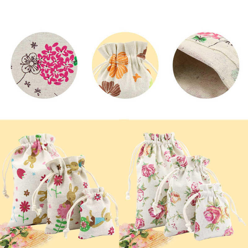 Hot 1PC Flowers printed Burlap Christmas Gift Bags  Wedding Favor Drawstring Pouch Useful Jewelry Storage bag