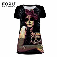FORUDESIGNS Black Women Fashion Dress 3D Skull Pattern Breathable Ladies Dresses Summer Beach Dress For Girls