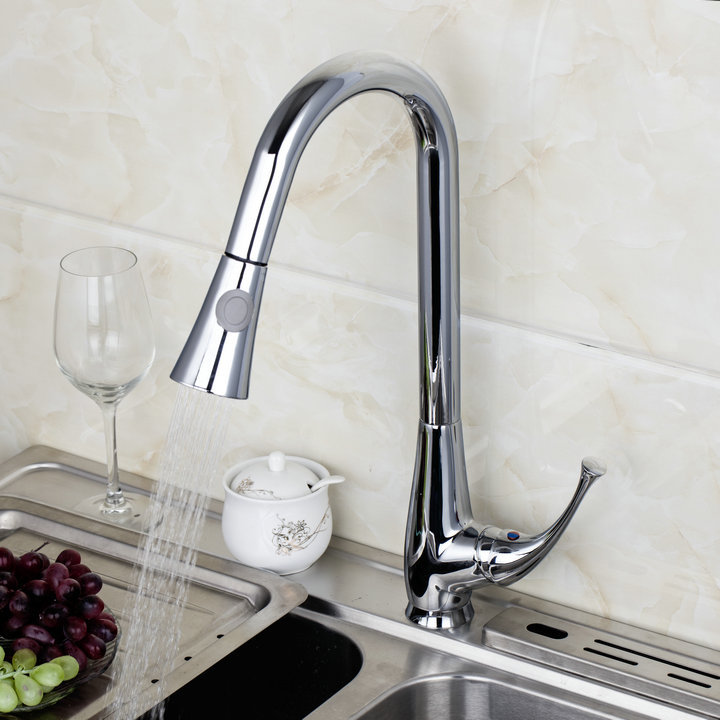 New Kitchen Faucets 8527/6 Wholesale And Retail Chrome Solid Brass Water Power Swivel Spout Pull Out Vessel Sink Mixer Tap hot free wholesale retail chrome brass water kitchen faucet swivel spout pull out vessel sink single handle mixer tap mf 264