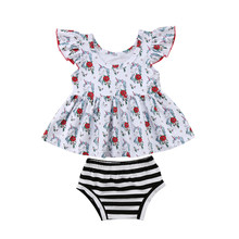 Infant Newborn Baby Girls Clothing Set Floral Dress Tops Short Bottoms Shorts Summer Outfit Clothes Set 2Pcs Baby Girl 0-2T(China)