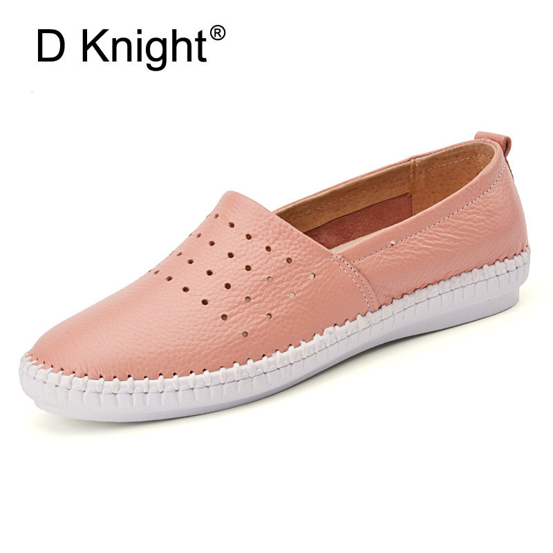 Women Soft flats Nurse Breathable Shoes Split Leather Women Spring Summer Light Causal Shoes Slip On Loafers Black White Pink summer women slip on loafers breathable light sole flats shoes cheap walking sneakers casual woven shoes for women nurse shoes