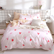 High Quality Four Sets Of Polished Dormitory Bed Sheet Polyester Quilt Hearts Bedding Set