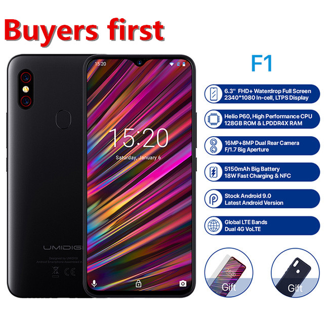 "2019 new UMIDIGI F1 Android 9.0 mobile phone 6.3""FHD ROM 128GB RAM 4GB 5150mAh Helio P60 Octa Core NFC 16MP 4G LTE Smartphone"