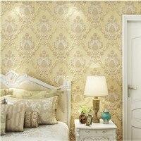 Free Shipping Luxury 3D European Style Damascus Villa Green Carved Background Wallpaper Bedroom Restaurant Wallpaper