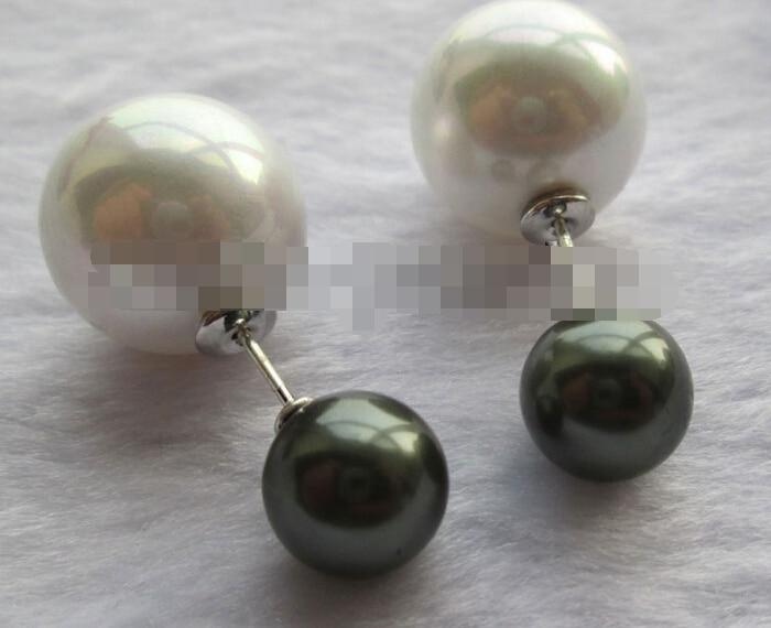 Vente chaude Noble-vente chaude nouvelle-livraison gratuite 12799 paon noir + blanc parfait mer ronde shell perle boucle d'oreille