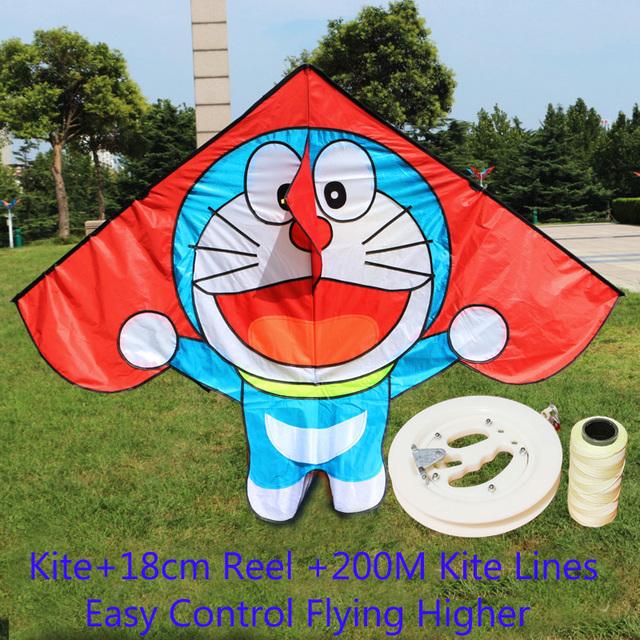 Envío de la alta calidad los niños línea cometa kite Doraemon con mango tela ripstop kite kitesurf fábrica cerf volant
