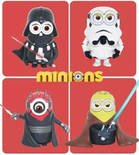 4pcs 8cm Despicable Me 3 3D Eye Cos Star Wars Darth Vader Trooper PVC Action Figure Collectible Model Gift