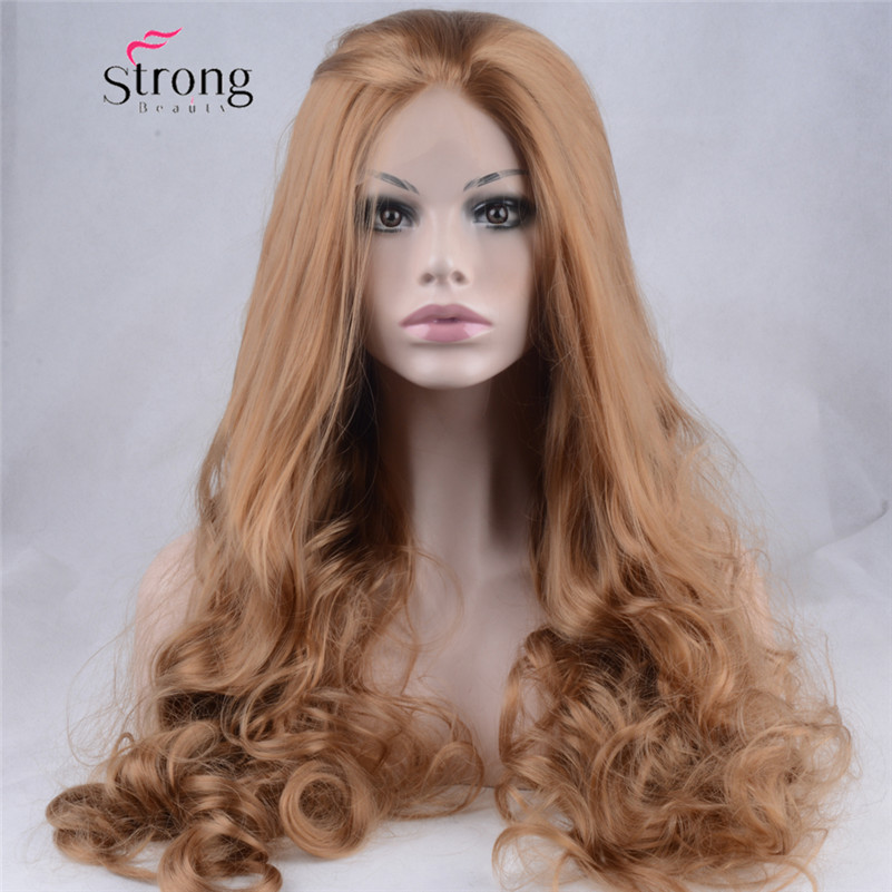 Light Brown Glueless Lace Front Wig Long Wavy Half Hand Tied Replacement Synthetic Hair Full Wigs