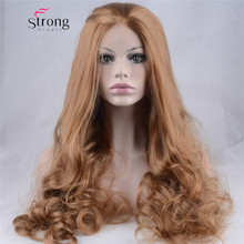 Light Brown Glueless Lace Front Wig Long Wavy Half Hand Tied Replacement Synthetic Hair Full Wigs Heat Resistant For Women 24″