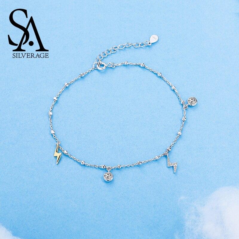 SA argent Sterling véritable 925 bijoux ville ciel foudre bracelets de cheville 2018 chaînes à la mode bracelets de cheville pour les femmes zircone cubique