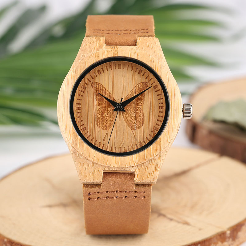 Fashion Natural Bamboo Carve Butterfly Quartz Wooden Watch Women Genuine Leather Watchband Ladies Wristwatch Relogio Feminino hand made mens wooden bamboo quartz watch black genuine leather watchband simple unique modern wristwatch gift for male female