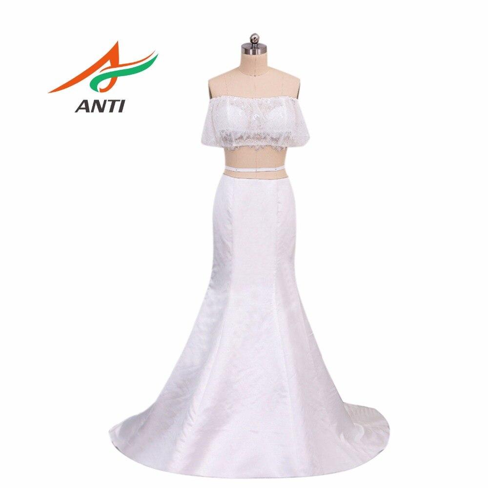 Новое поступление 2018, платье-Русалка с вырезом лодочкой, белое кружевное платье из 2 предметов, сексуальное Элегантное длинное вечернее пла...