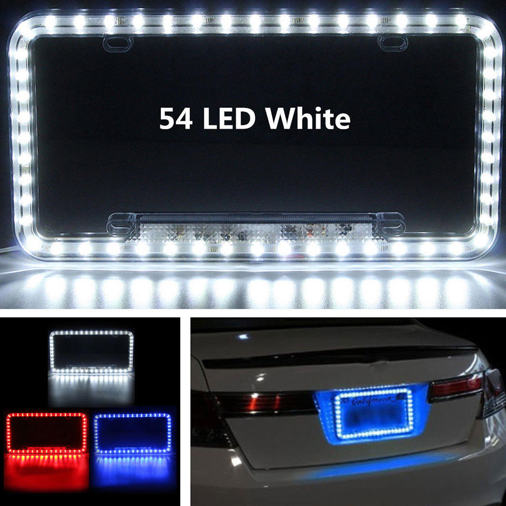 Universal 12V White Red Blue 54 LED Light Car Front Rear Number License Plate Frame Cover Auto Car Styling 12.5
