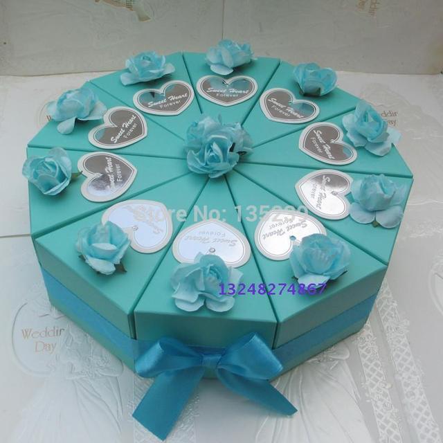 100pcs Blue With Rose Wedding Cake Slice Centerpiece Candy Box Favor