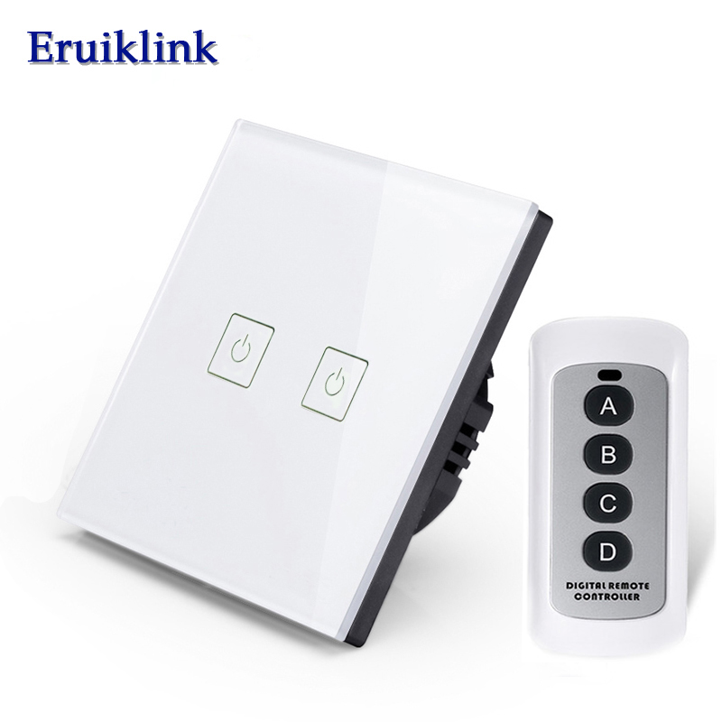 Eruiklink EU/UK 2 Gang 1 Way RF433 Remote Control Wall Touch Switch, Wireless Remote Control Light Switches for Smart Home makegood eu uk standard 1 gang 1 way rf433 remote control touch switch wireless remote control light switches for smart home