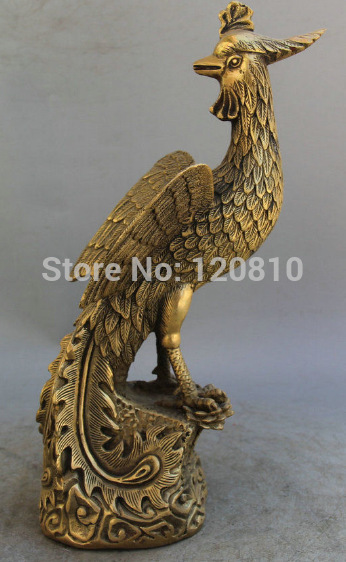 Statue de sculpture d'oiseau en laiton chinois phoenix fung-hwang Feng Huang 10