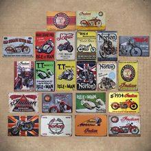 Retro BSA motocicletas Estrella de oro de la placa de Metal Norton Scout estaño signo de Metal Vintage cartel garaje Club Pub Bar decoración de la pared