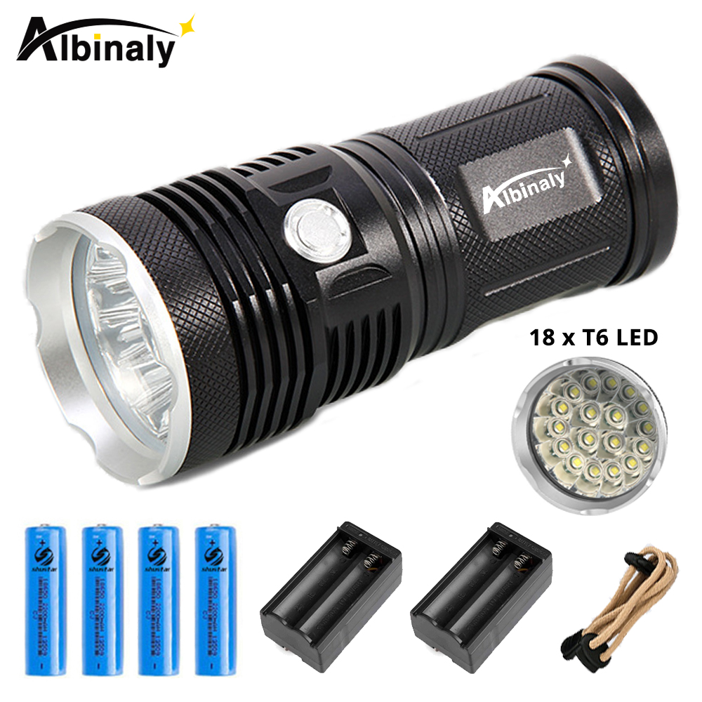 High Power LED flashlight searchlight 18 x T6 LED torch 30000 lumens flashlight waterproof with 4*18650 Battery+charge high power led searchlight lantern built in battery handheld portable flashlight torch rechargeable waterproof hunting lamps